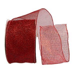 Fita Decorativa Melrose Vermelha 6.3cmx9.14m