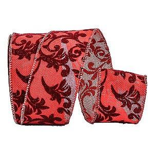Fita Decorativa.Vermelha 6,2 cm x 9,15 m