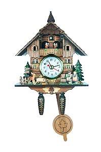 Miniatura Relógio Cuco Quartzo Chalé Beijoqueiros MDF