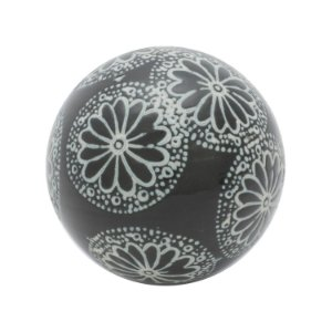 BOLA CERAMICA DECOR FLOWER TRACES PRETO E BRANCO