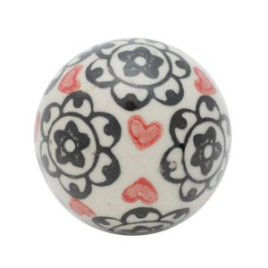 BOLA CERAMICA DECOR FLOWERS AND HEARTS BEGE/PRETO