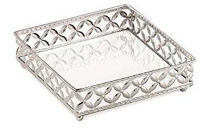 Bandejas espelhadas prata em metal Quadrada P