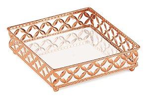 Bandeja espelhada cobre em metal Quadrada M