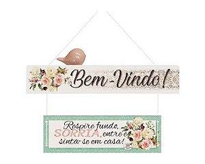 MOBILE DE PAREDE COM APLIQUE BEM-VINDO...FLORAL