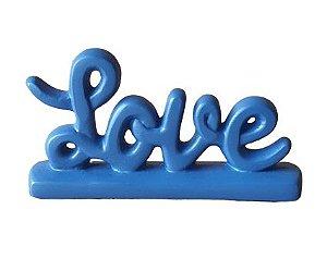 Escultura Mini Love em Ceramica Azul