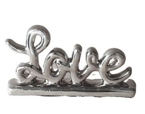 Escultura Mini Love em Ceramica Prata