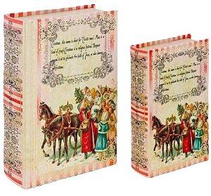 CJ 2 LIVRO CAIXA DE NATAL BOOK BOX SANTA CLAUS KIDS SEDA