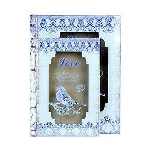 CJ 2 LIVRO CAIXA BOOK BOX COM VIDRO LOVE BIRD OLDWAY