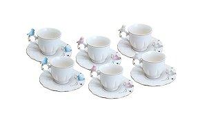 Cj 6 Xícaras Porcelana Café Cute Birds Colorido Wolff 90ml