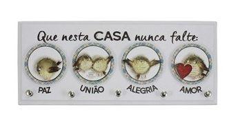 PORTA-CHAVES QUE NESTA CASA NUNCA...PASSARINHO CINZA