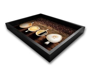 BANDEJA PRETA C/ GRAVURA IMPERMEAVEL COFFEE