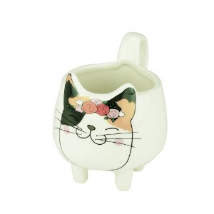CACHEPOT CERAMICA  GATO FAT CAT FLOWER BRANCO
