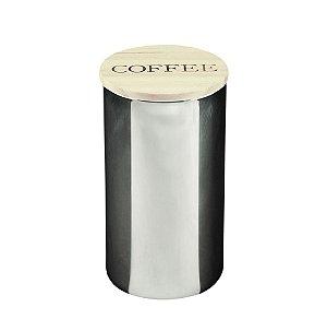 POTE VIDRO COFFEE CINZA COM TAMPA DE MADEIRA