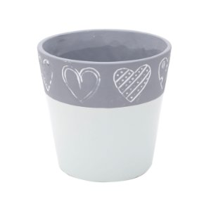 VASO CONCRETO COLLAR WITH HEARTS VERDE/CINZA
