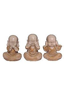 Escultura Trio de Monges da Sabedoria Cinza e Dourado
