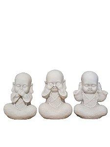 Escultura Trio de Monges da Sabedoria Branco