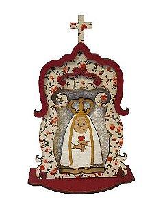 Oratorio em madeira Nossa Senhora de Fatima com Cruz