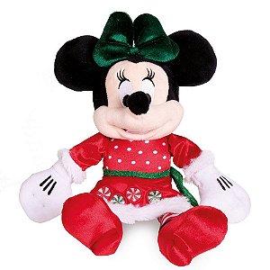 Minnie Pelúcia Vestido Vermelho/Verde 35cm Natal Disney