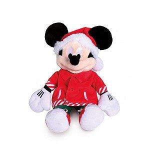 Mickey Pelúcia Camiseta com Bolso 35cm Natal Disney