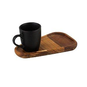 XICARA CAFE COM PIRES EM MADEIRA TECA 93ml