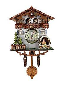 Miniatura Relógio Cuco CHALE DO CHOPP BRANCO Quartzo MDF
