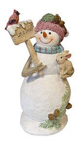 Boneco de Neve Pretties Let it Snow com Coelho em Resina