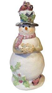 Boneco de Neve Pretties com Ninho e Passaros em Resina