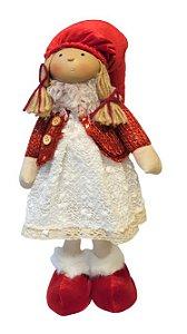 Menina em Pe Soffy Vermelho e branco