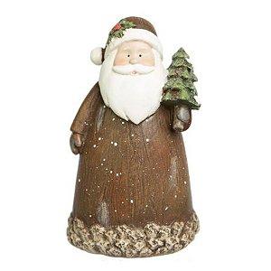 Papai Noel Decorativo Estilo Casca de Arvore em Resina