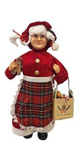 Mamae Noel em Pe Lenhador - 45cm