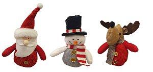 Trio de Adornos para árvore - Papai Noel, Boneco de Neve, Rena