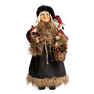 Mamae Noel em Pe Lenhador Xadrez - 45cm