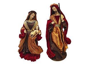 Sagrada Familia Vermelho e Dourado 49cm