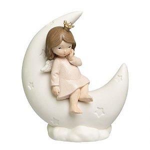 Menina Sentada na Lua Decorativa em Resina