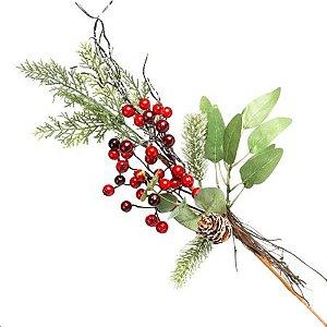 Galho Natural Berry Vermelho e Verde 50cm
