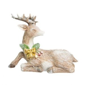 Rena Sentada Decorativa em Resina