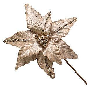 Poinsetia Decorativa Champanhe  50cm