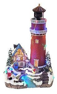 Vila Natalina - Farol iluminado com casa e Papai Noel