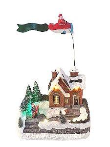 Vila Natalina - Aviao com Papai Noel sobrevoando a Vila