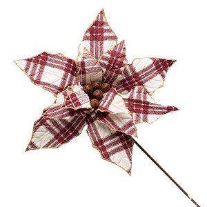 Poinsetia Decorativa Vermelho e Branco 50cm