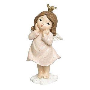 Menina Anjo Decor Rosa em resina
