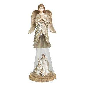 Anjo c/ Sagrada Familia em resina