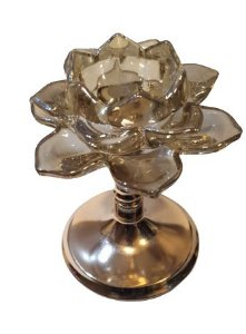 CASTICAL AMBAR DECOR COM PEDESTAL EM METAL ROSE M