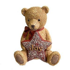 Urso Star Pretties marrom com estrela vermelha