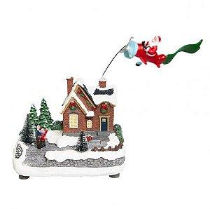 Vila Natalina -Noel no avião sobrevoando a cidade Sled Ravena