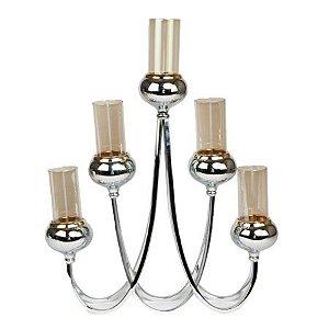 Candelabro de metal com 5 porta velas
