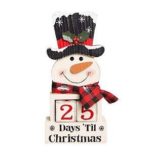 Calendario boneco de neve branco em madeira