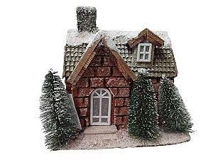 Casinha Decorativa nevada com iluminacao interna