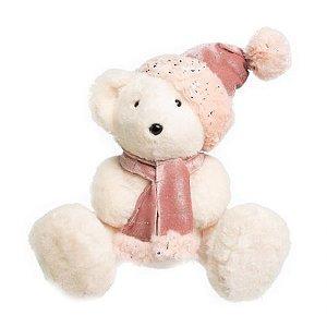 Urso Sentado Branco e rosa com gorro e cachecol