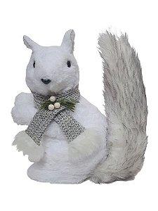 Esquilo Fluffy branco com cachecol